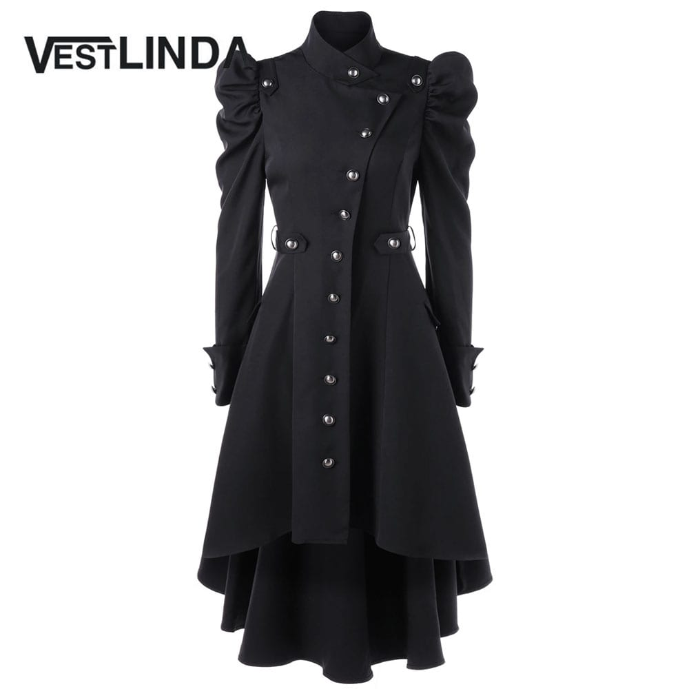 Vestlinda Puff Shoulder Button Up Dip Hem Trench Coat For Women New Fashion Stand Up Collar High Waist Outerwear Winter Coats