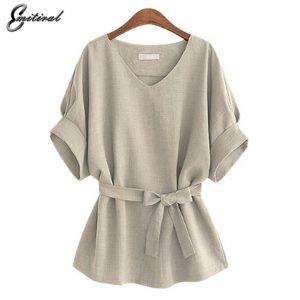 45b743da15f24 2017 Summer 5XL Plus Size Women Shirts Linen Tunic Shirt V Neck Big Bow  Batwing Tie Loose Ladies Blouse Female Top For Tops