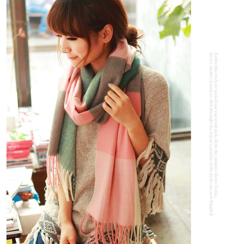CMTOP Winter Long Scarves Plaid Warm Wraps Wool British Style For Ladies Spinning Tassel Shawl Long Star Scarf Women Shawl Winter Wraps Warm Blanket with Tassel